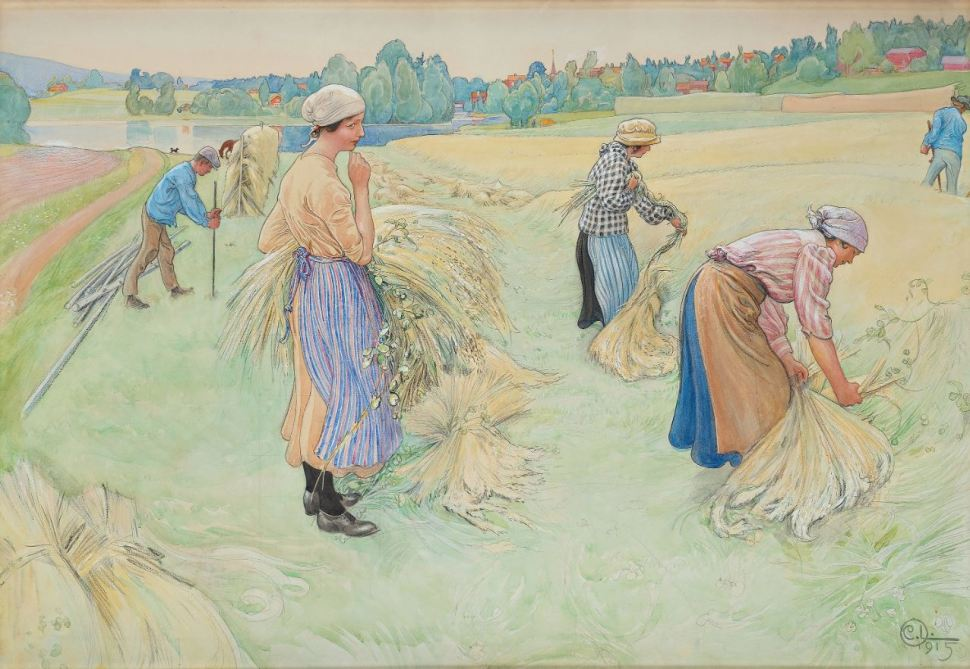 Carl Larsson oat harvest